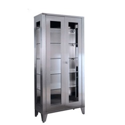 "UMF SS7840 Display Cabinet, 5 adjustable metal shelves, 2 glass hinged doors, 36""W x 77""H x 16""D"