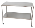 "UMF SS8008 Stainless Steel Instrument Table with Shelf, 24"" x 48"""