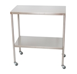 "UMF SS8012 Stainless Steel Instrument Table with Shelf, 18"" x 33"""