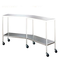 "UMF SS8065 Stainless Steel Instrument Table, Angular Instrument/Back Table with Shelf, 14"" x 64"""