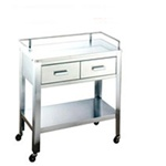 "UMF SS8120 Stainless Steel Utility Table with 2 Drawers and Rail and 1 shelf, 32""W x 32""H x 16""D"