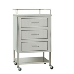 "UMF SS8151 Stainless Steel Utility Table, 3 Drawers, 1 Shelf, 20""W x 35.25""H x 16""D"