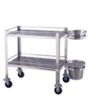 UMF SS8214 Stainless Steel Dressing Cart (Knocked Down), Includes 7.5 qt. basin and 13 qt. pail