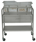 "UMF Stainless Steel Bassinet 1 Shelf, 1 Drawer, 32""W x 35.25""H x 17""D"