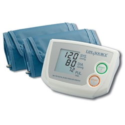 AnD LifeSource Digital Blood Pressure Monitors with MEDIUM Cuff, Dual Memory Auto-Inflate with AC Adapter and Med & Lg Cuffs