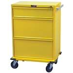 "Harloff V-Series Tall Isolation Cart, 30"" Cabinet and Three Drawers with Key Lock"