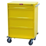 "Harloff V-Series Tall Isolation Cart, 30"" Cabinet and Four Drawers with Key Lock"