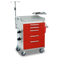 Detecto Loaded Whisper Cart - Red (5-Drawers)