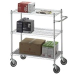 R&B 3-Shelf Wire Linen Carts w/ Solid Bottom Shelf