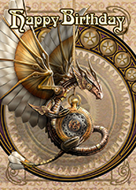 Clockwork Dragon Birthday Card - 6 Pack