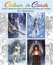 Winter Fantasy Color-In Cards - 4 Pack
