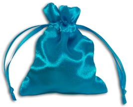 Turquoise Satin Pouch