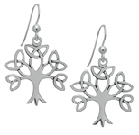 Silver Trinity Tree of Life Earrings