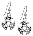Silver Open Triad Dangling Earrings