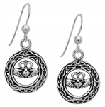 Silver Celtic Claddagh Earrings for Love & Loyalty