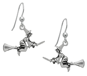 Silver Flying Witch Earrings