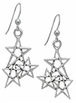 Silver Law of 3 Pentagram Earrings