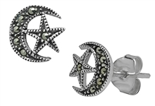 Moon & Star Marcasite Studs