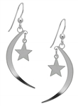 Silver Moon Star & Dangling Earrings