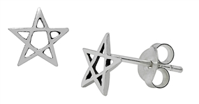 Silver Pentagram Stud Earrings