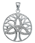 Brilliant Silver Trinity Tree of Life Pendant for Unity