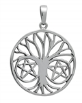 Silver Pentapha Tree of Life Pendant for Protection