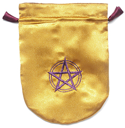 Yellow Satin Pentagram in a Circle Tarot Bag