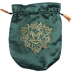 Green Satin Green Man Tarot Bag