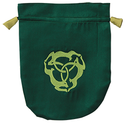 Green Satin Triple Hare Tarot Bag