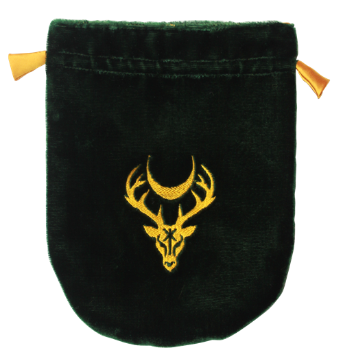 Green Velvet Moon Stag Tarot Bag