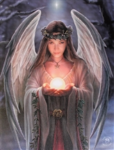 Yule Angel Canvas Art Print by Anne Stokes