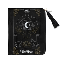 The Moon Black Velvet Zippered Tarot Card Bag
