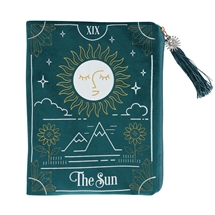 The Sun Green Velvet Zippered Tarot Card Bag