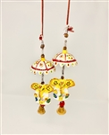 Hanging String Chatri Yellow Ganesh Latkan made with Peper Mache - made available by Celebrate Festival Inc
