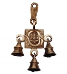 Om Ganesha Bronze Hanging Bell - made available by Celebrate Festival Inc