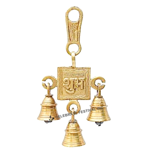 Decorative Brass-Bronze Hanging Subh Single Step bell by Handecor - made available by Celebrate Festival Inc