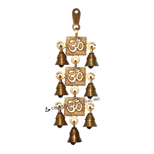 Decorative OM Bronze 3 Steps Hanging Bell - made available by Celebrate Festival Inc