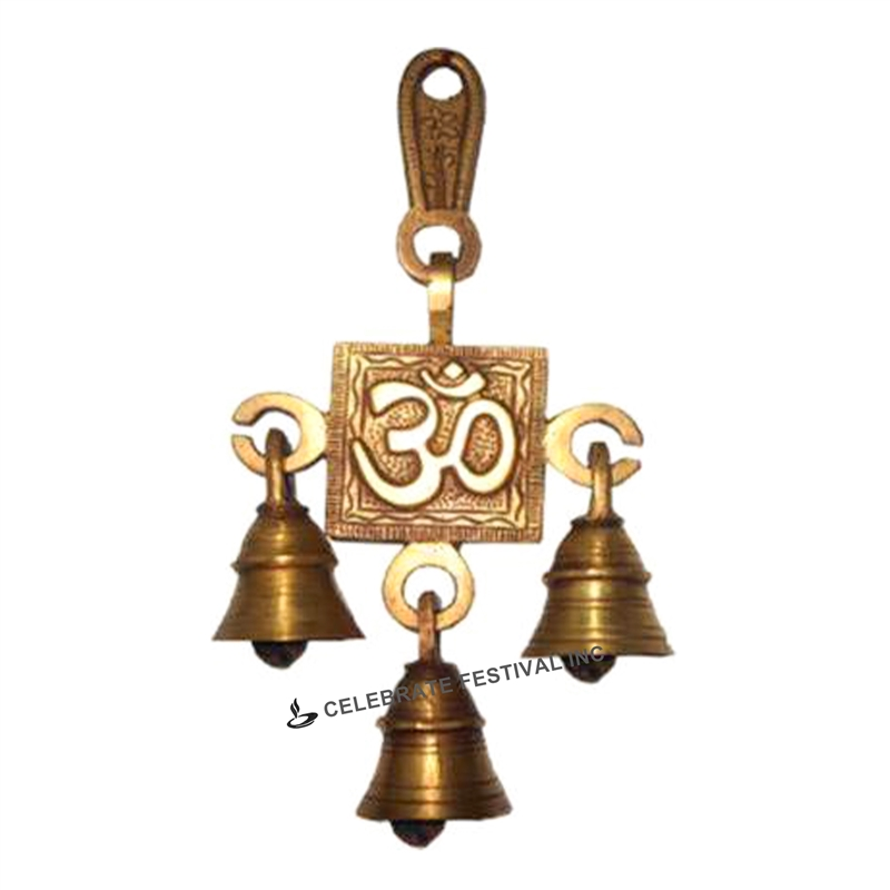 OM Single step Bronze Hanging Bell - made available by Celebrate Festival Inc