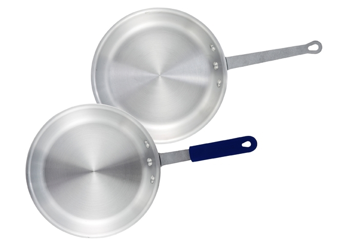 "Frying Pan - 12"" Aluminum Natural Finish Fry Pan with Silicone"