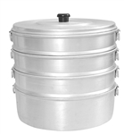 "Aluminum Steamer Set 10.5"" Diameter, 4 Compartments - good to cook Momos, Corn, Dimsum and more"