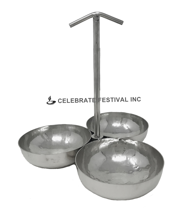 Stainless Steel Pickle Stand - 3 Bowls- By Celebrate Festival Inc