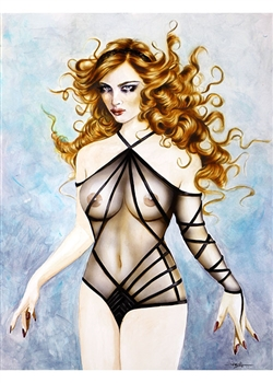 "Janesko Original Pinup Painting ""Something Wicked"""