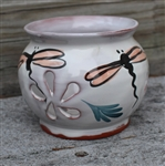 Pottery - Majolica Orchid Plant Pot - Dragonfly