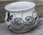 Pottery - Majolica Plant Pot - Greyscale Cottage Rose