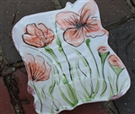 Pottery - Majolica Soap Dish - Poppy (wood back)