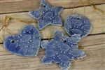 Pottery - Embossed Sheep Ornament - Blue -  Choose your shape