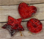 Pottery - Embossed Sheep Ornament - Barn Board Red - Choose your shape