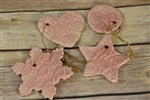 Pottery - Embossed Sheep Ornament - Pink - Choose your shape