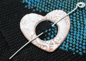 Pottery Shawl pin - Heart - Embossed Snowflake