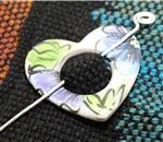 Pottery Shawl pin - Heart - Majolica Blue Poppy